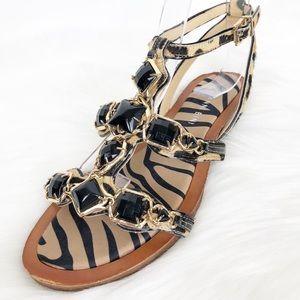 Gianni Bini Calf Hair Cheetah Print Beaded Sandals